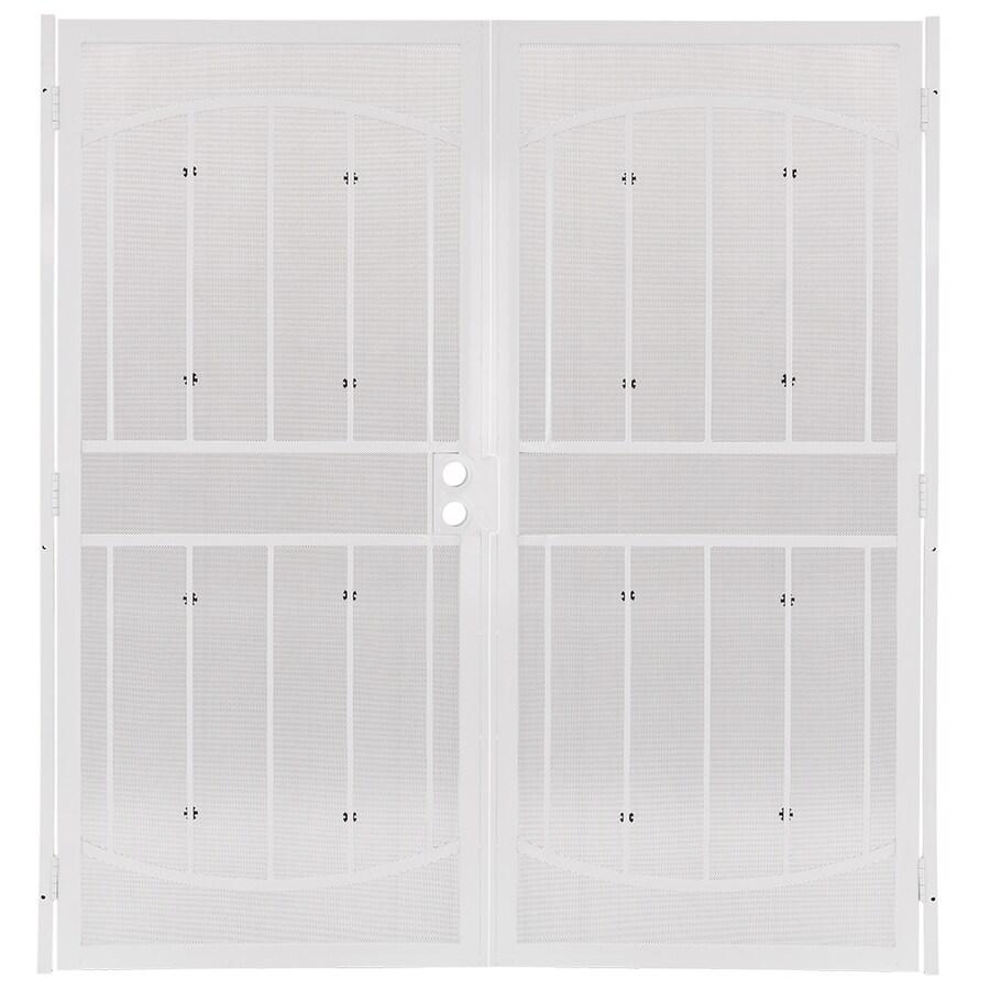 Gatehouse Gibraltar White Steel Security Door (Common: 64-in x 81-in; Actual: 67.25-in x 81.75-in)