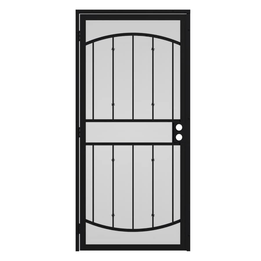 Gatehouse Gibraltar Black Steel Surface Mount Single Security Door (Common: 32-in x 81-in; Actual: 35-in x 81.75-in)