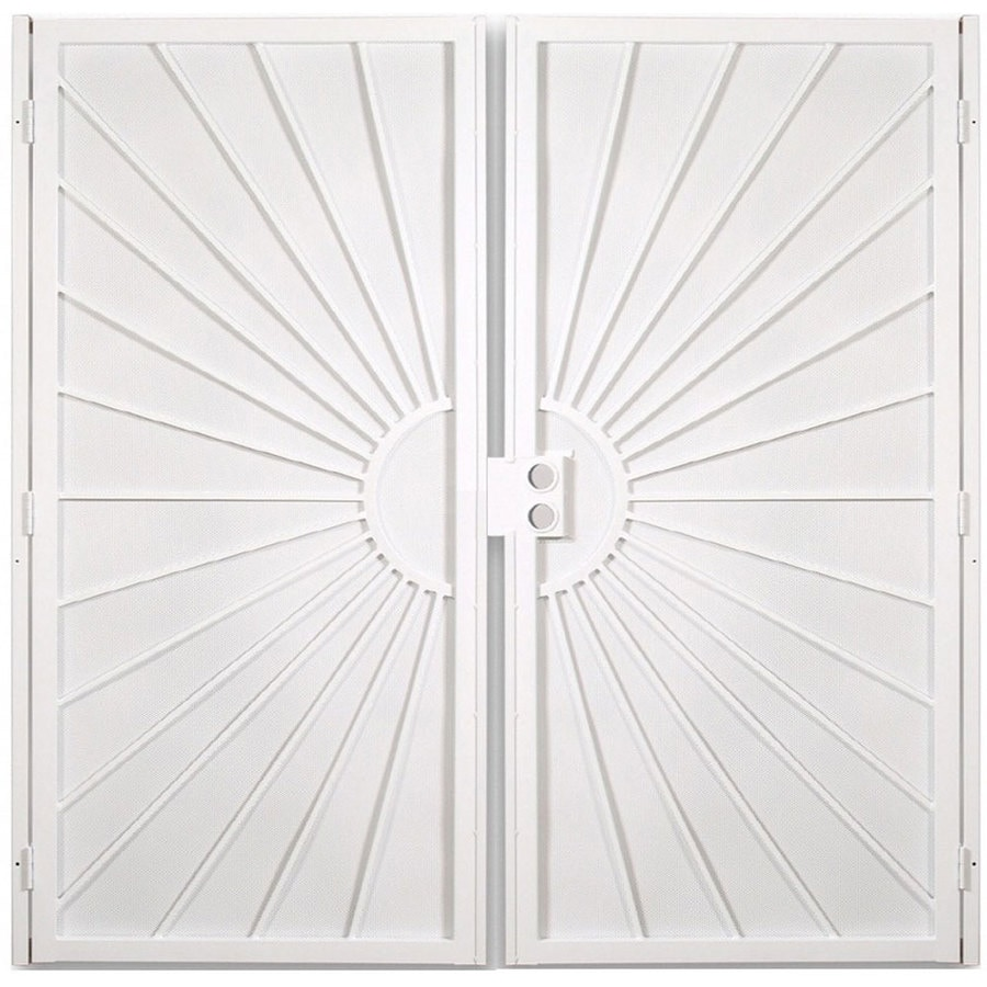 Gatehouse Sunset White Steel Surface Mount Security Door (Common: 64-in x 81-in; Actual: 67.25-in x 81.75-in)