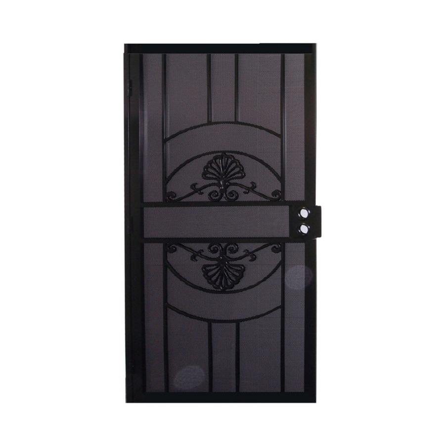 Shop gatehouse alexandria black steel security door for Metal security doors