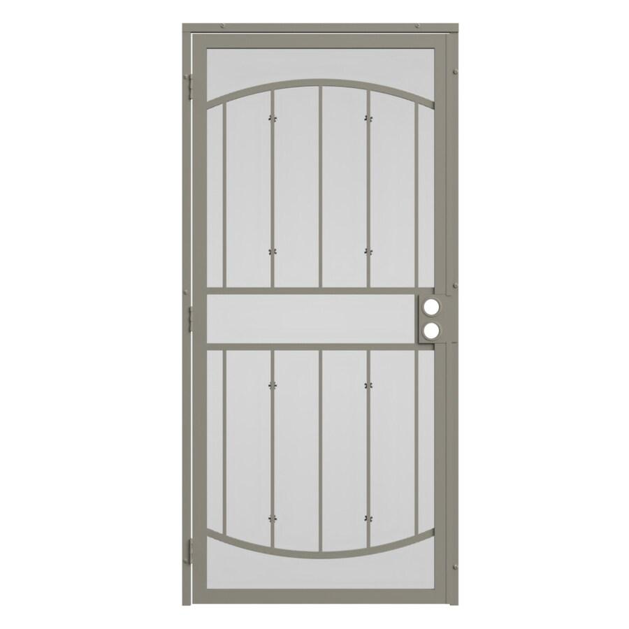 Shop gatehouse gibraltar almond steel security door for Lowes steel doors