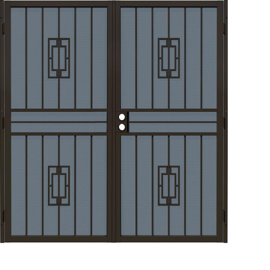 Gatehouse Ventura Bronze Steel Security Door (Common: 64-in x 80-in; Actual: 67.25-in x 81.75-in)