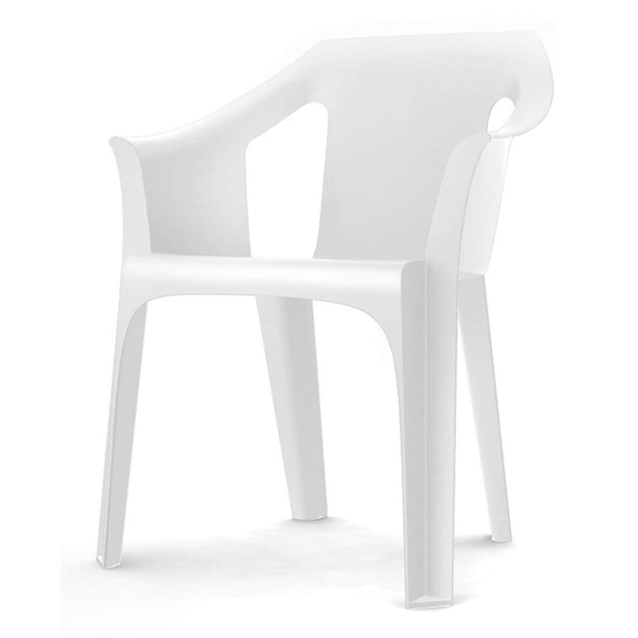 Garden Treasures Cool White Plastic Slat Seat Patio Chair