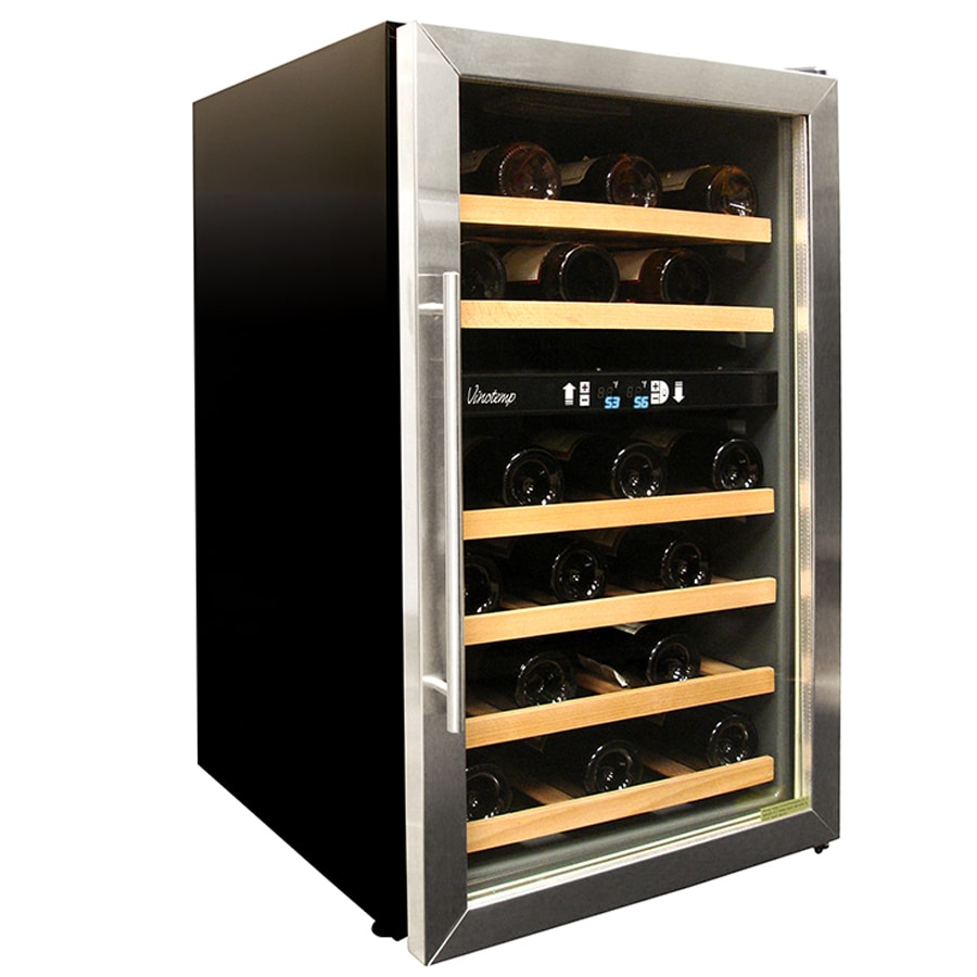 Shop Vinotemp 34 Bottle Black Dual Zone Wine Chiller At