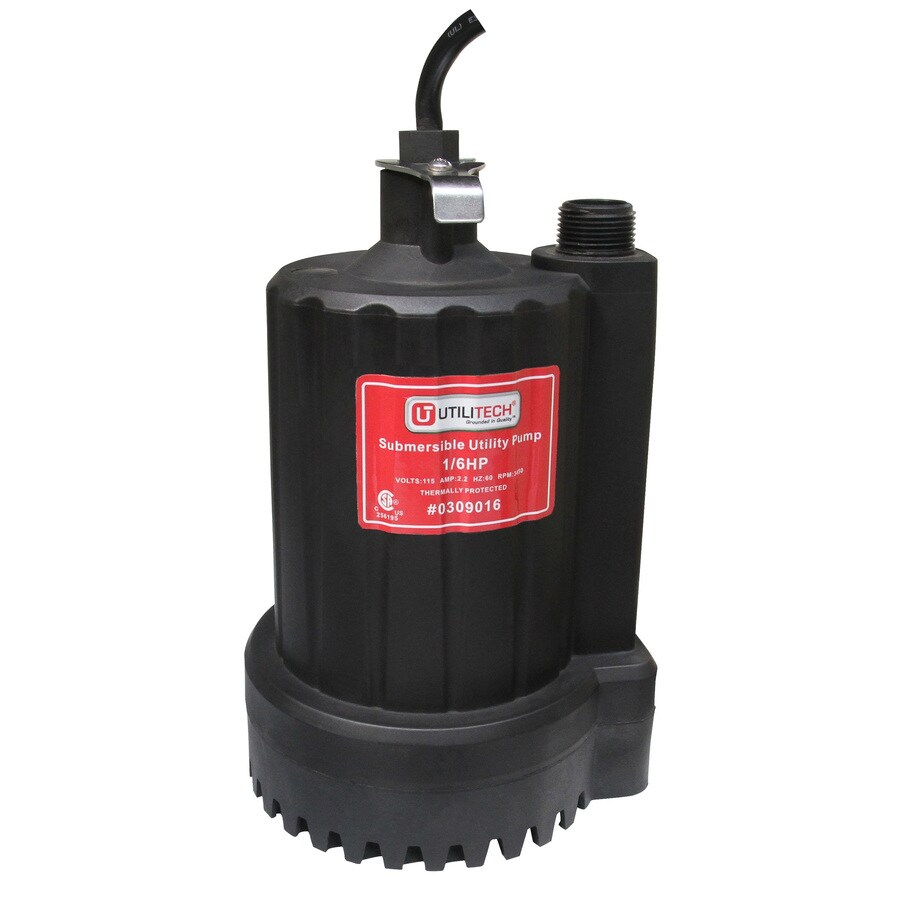 Utilitech 0.16-HP Thermoplastic Submersible Utility Pump