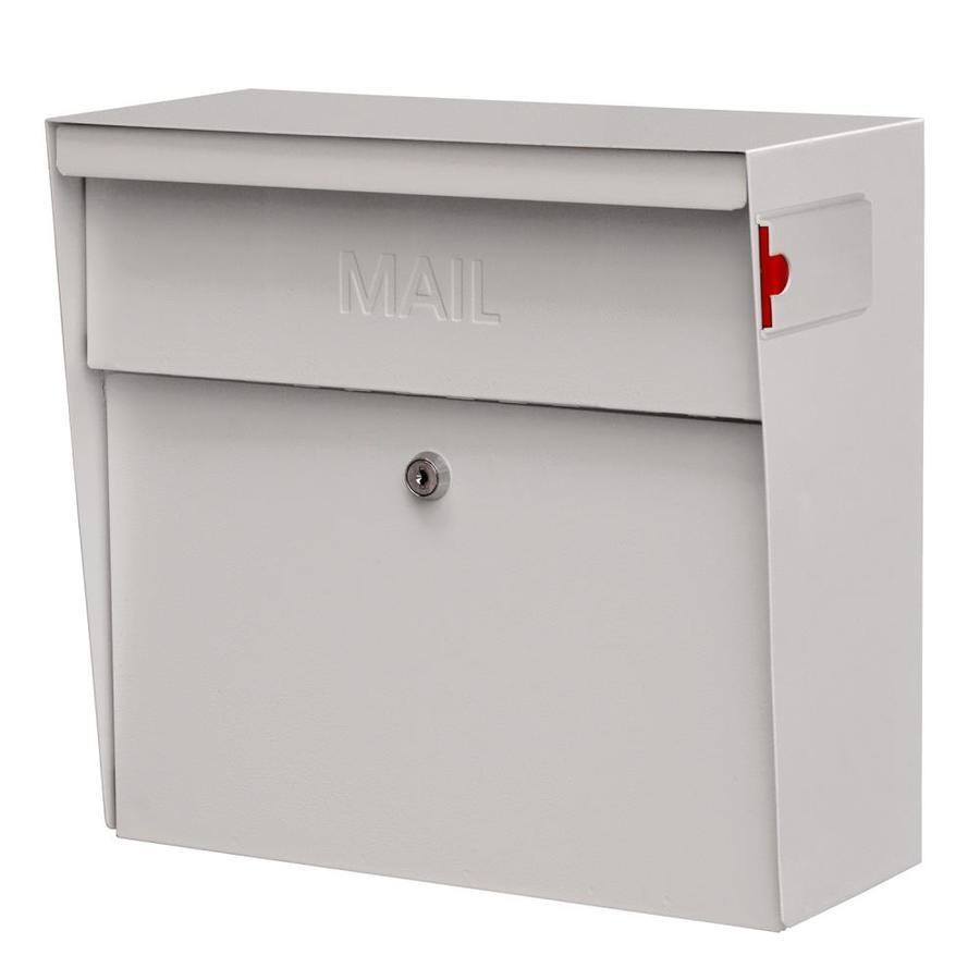 Mail Boss Metro 15.4-in x 14.75-in Metal White Lockable Wall Mount Mailbox