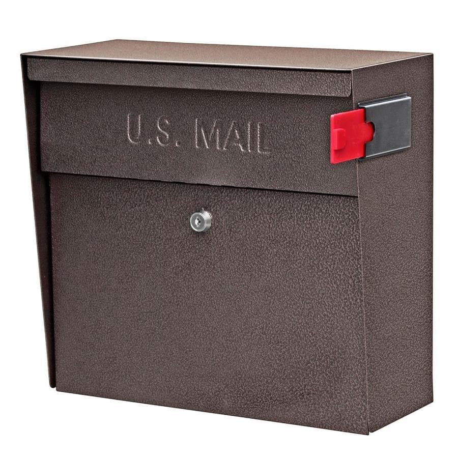 Mail Boss Metro 15.4-in x 14.75-in Metal Bronze Lockable Wall Mount Mailbox
