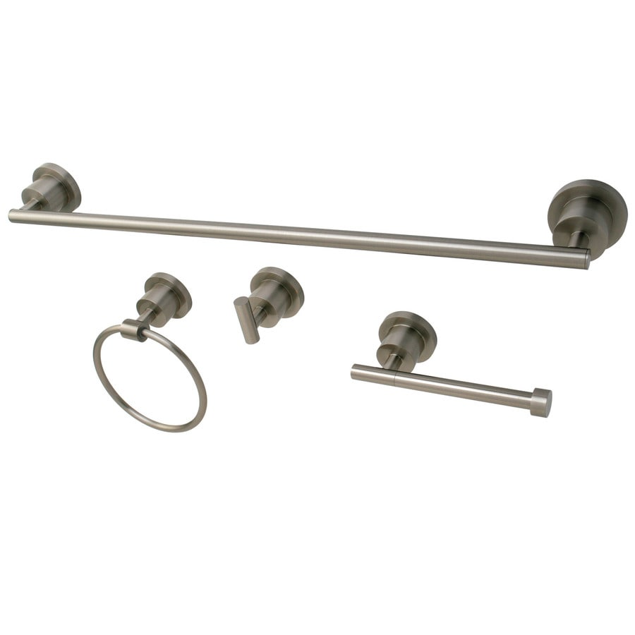 Shop kingston brass 4 piece concord satin nickel for Bathroom hardware sets