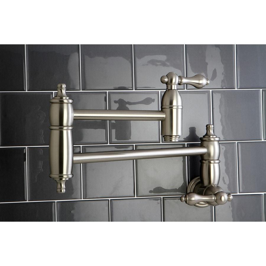 2018 Dual Holder Wall Mount Kitchen Faucet Kitchen Brass: Shop Kingston Brass Restoration Satin Nickel 2-Handle Pot