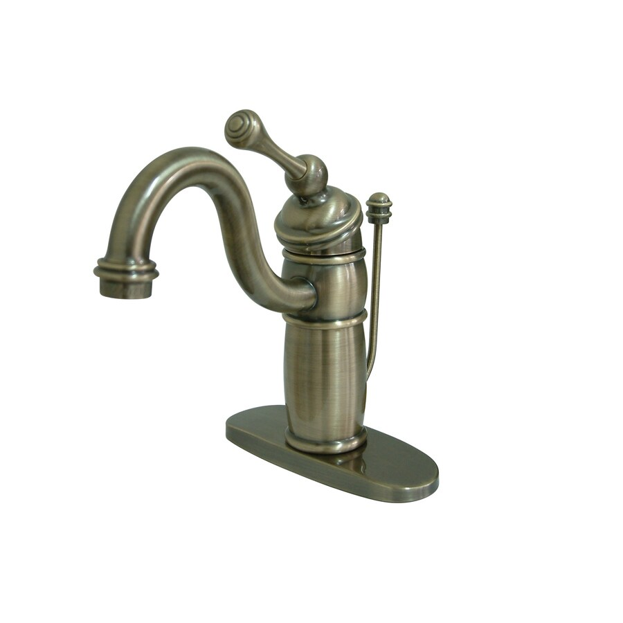 Kingston Brass Victorian Vintage Brass 1-Handle 4-in Centerset Bathroom Faucet (Drain Included)