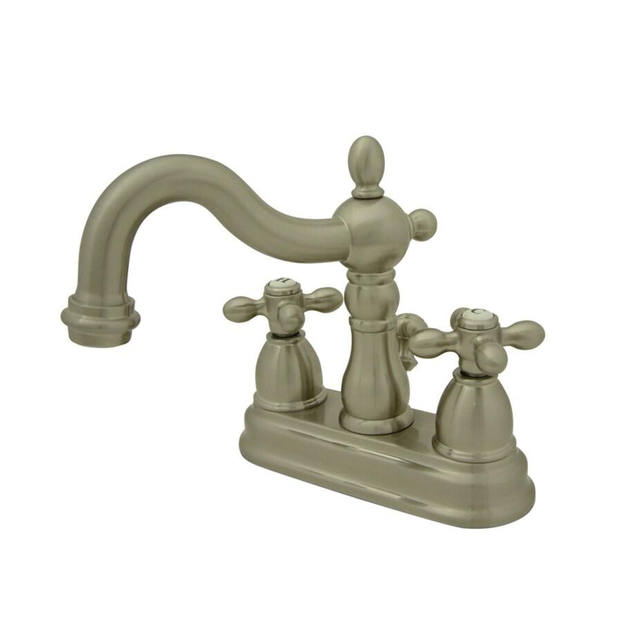 Kingston Brass Heritage Satin Nickel 2-Handle 4-in Centerset Bathroom Faucet (Drain Included)