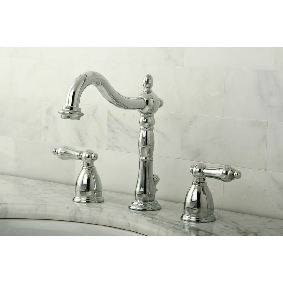 Shop Kingston Brass Heritage Chrome 2 Handle Widespread Bathroom Faucet Drain Included At