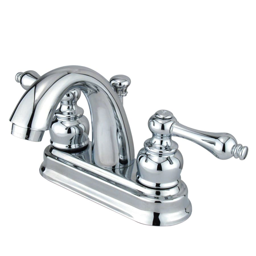 Kingston Brass Restoration Chrome 2-Handle 4-in Centerset Bathroom Faucet (Drain Included)