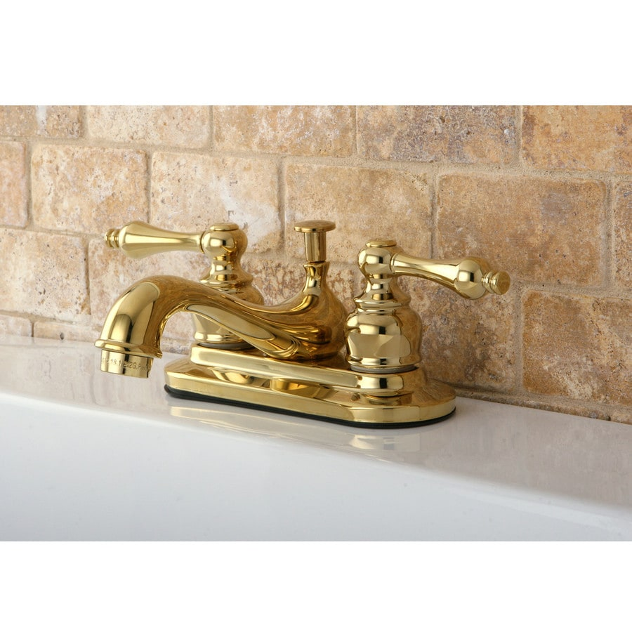 Shop Kingston Brass Restoration Polished Brass 2 Handle 4 In Centerset Bathroom Faucet Drain
