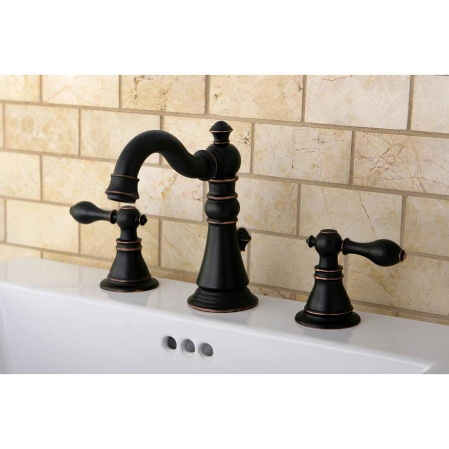 Kingston Brass American Patriot Oil-Rubbed Bronze 2-Handle Widespread Bathroom Faucet (Drain Included)