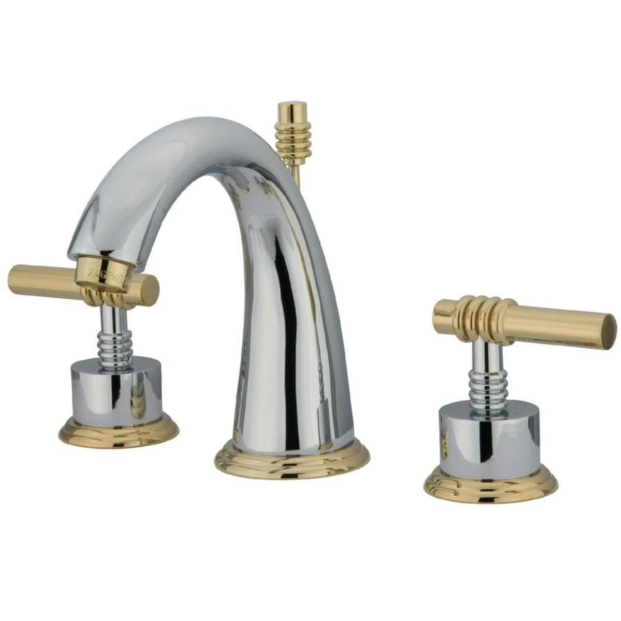 Kingston Brass Milano Polished Brass 2-Handle Widespread Bathroom Faucet (Drain Included)