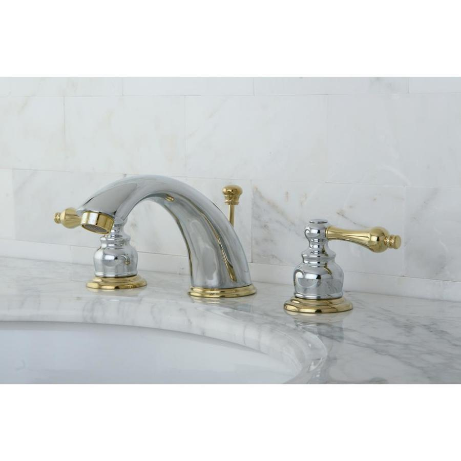 Kingston Brass Victorian Polished Brass 2-Handle Widespread Bathroom Faucet (Drain Included)