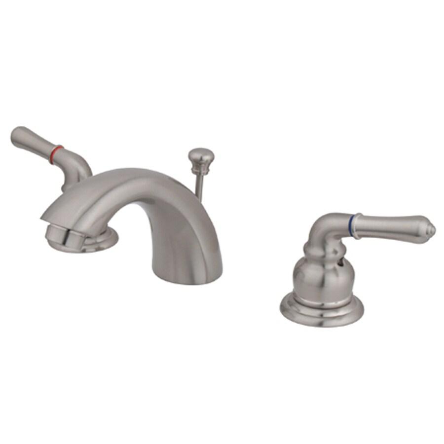 Kingston Brass Magellan Satin Nickel 2-Handle Widespread Bathroom Faucet (Drain Included)