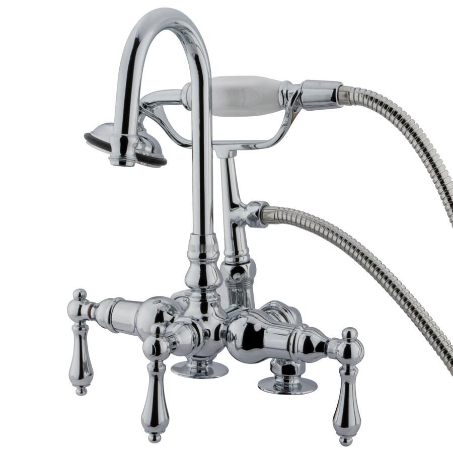Kingston Brass Vintage Chrome 3-Handle Fixed Freestanding/Wall Mount Bathtub Faucet
