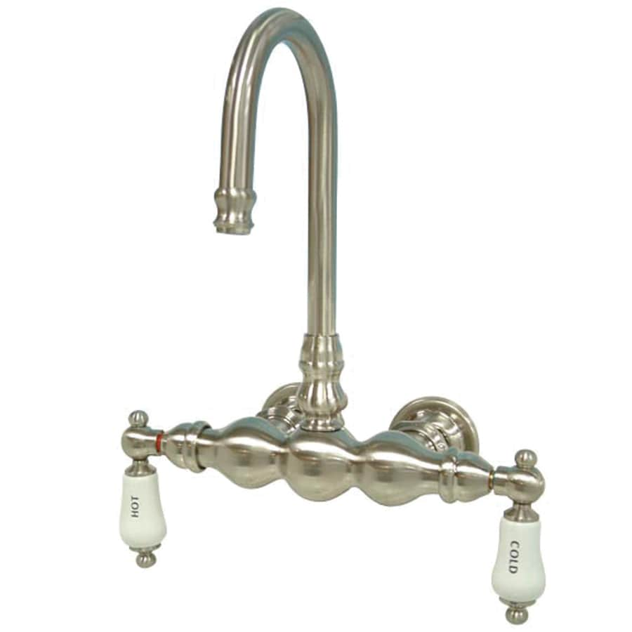 Kingston Brass Vintage Satin Nickel 2-Handle Fixed Freestanding/Wall Mount Bathtub Faucet