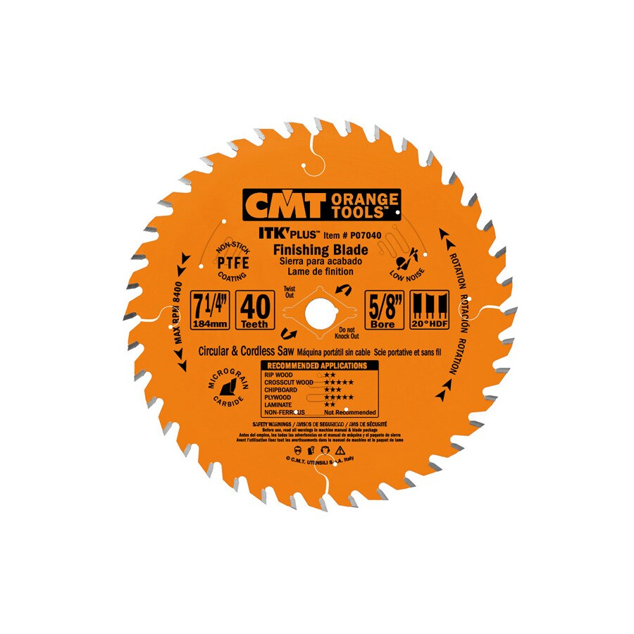 CMT 7-1/4-in 40-Tooth Continuous Carbide Circular Saw Blade