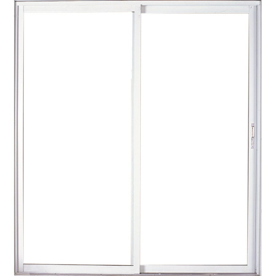 West Palm 60-in Clear Glass Mill Aluminum Sliding Patio Door with Screen