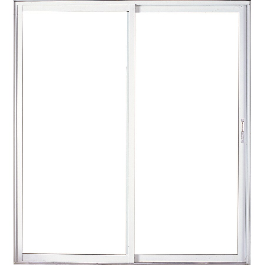 West Palm 72-in Clear Glass Mill Aluminum Sliding Patio Door with Screen