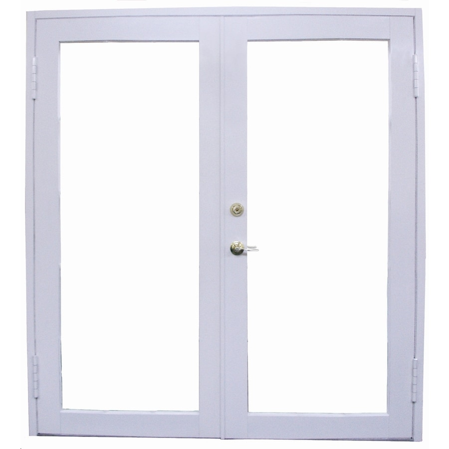 Shop west palm tempered clear aluminum french outswing for Aluminum french doors