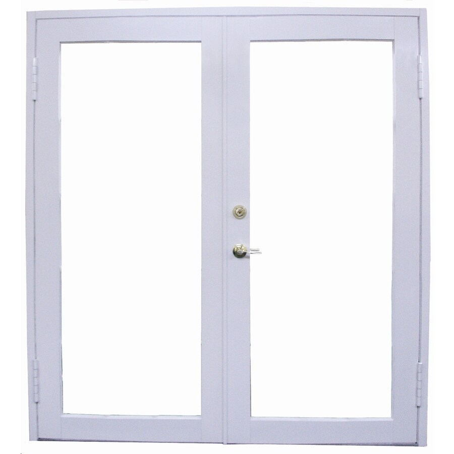Shop west palm tempered clear aluminum french outswing for Outswing french doors
