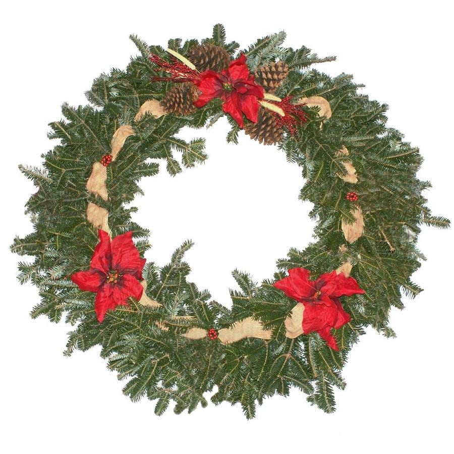 36-in Fresh Fraser Fir Christmas Wreath with Lights