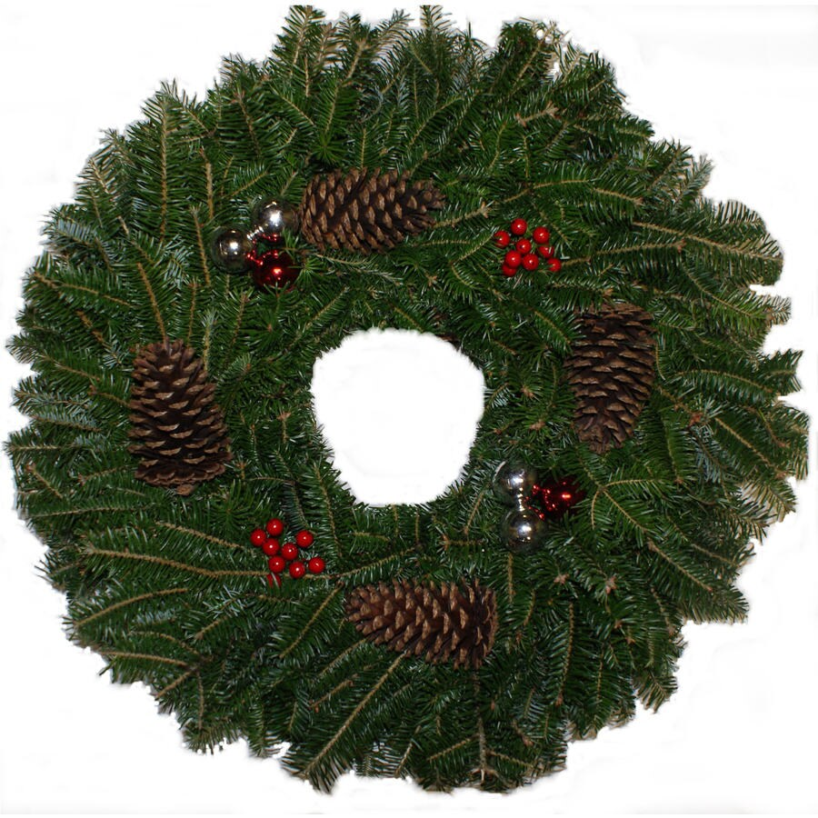 28-in Fresh Fraser Fir Christmas Wreath with Lights