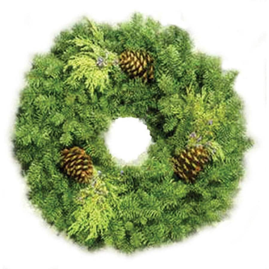 24-in Fresh Noble Fir Christmas Wreath with Lights
