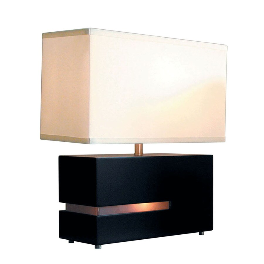 Nova Lighting 19-in Dark Brown Wood and Frosted Acrylic Indoor Table Lamp with Fabric Shade