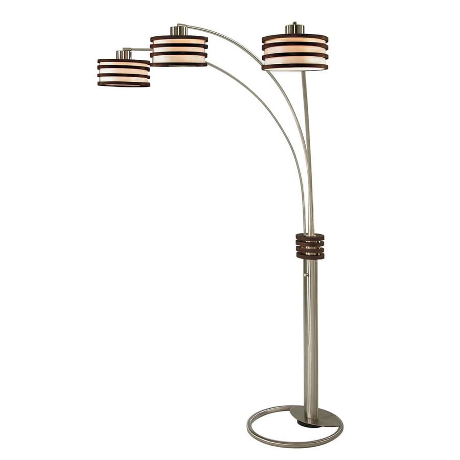 Nova Lighting 82-in Dark Brown Wood and Brushed Nickel Indoor Floor Lamp with Plastic Shade