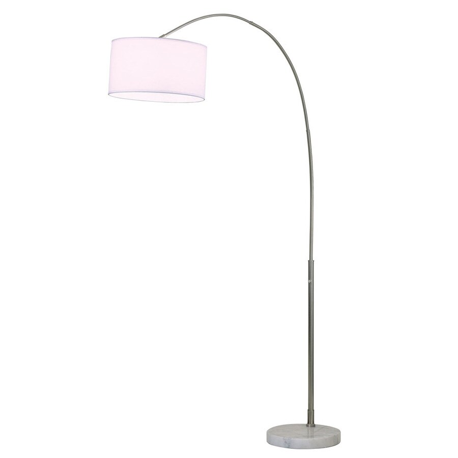 Nova Lighting 87-in Brushed Nickel and White Marble Base Indoor Floor Lamp with Fabric Shade