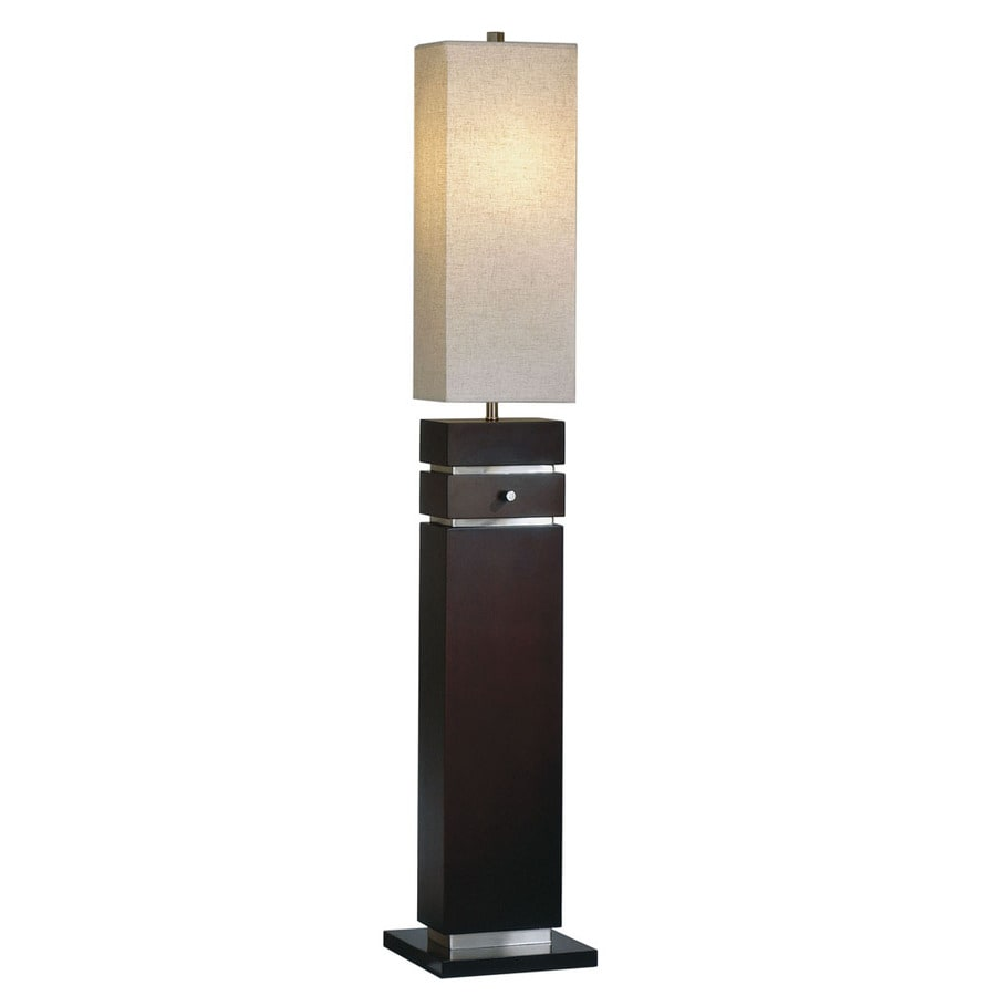 Nova Lighting 58-in Dark Brown Wood and Brushed Nickel Indoor Floor Lamp with Fabric Shade