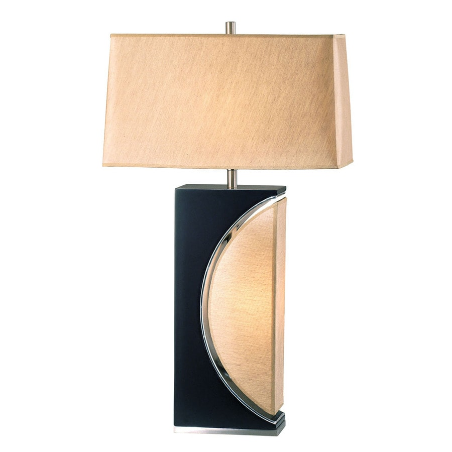 Nova Lighting 30-in Dark Brown Wood, Brushed Nickel and Etruscan Gold Indoor Table Lamp with Fabric Shade