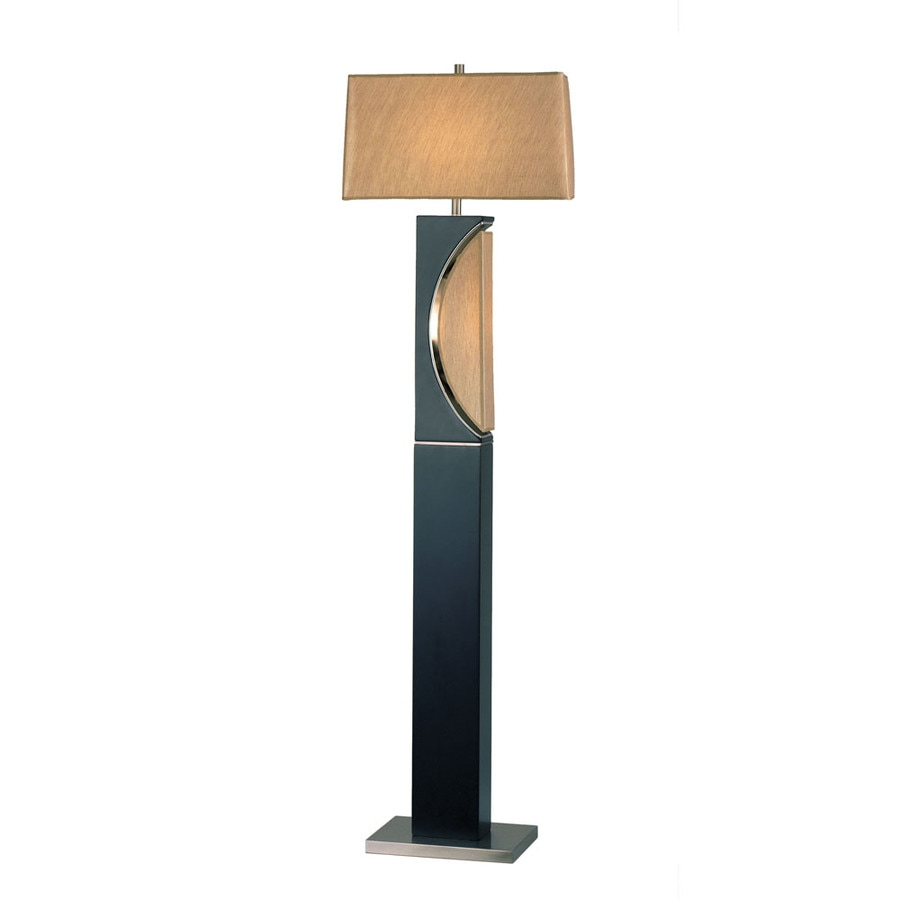 Nova Lighting 62-in Dark Brown Wood and Brushed Nickel Indoor Floor Lamp with Fabric Shade