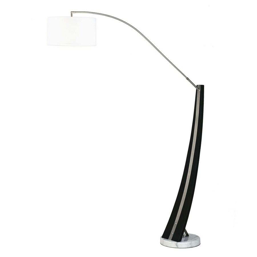 Nova Lighting 87-in Dark Brown Wood, Brushed Nickel and White Marble Base Indoor Floor Lamp with Fabric Shade