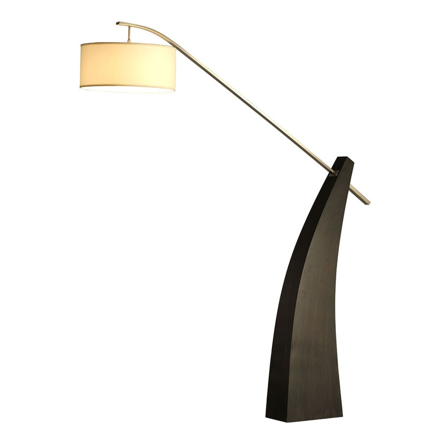 Nova Lighting 88-in Pecan Wood and Brushed Nickel Indoor Floor Lamp with Fabric Shade