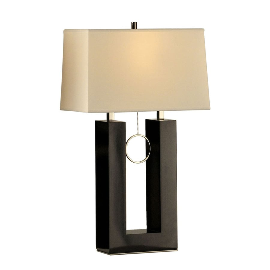 shop nova lighting 30 in gloss black wood and brushed nickel indoor table lamp with fabric shade. Black Bedroom Furniture Sets. Home Design Ideas