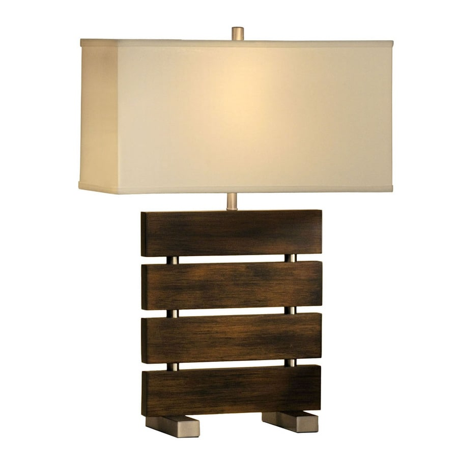 Nova Lighting 25-in 3-Way Pecan Wood and Brushed Nickel Indoor Table Lamp with Fabric Shade