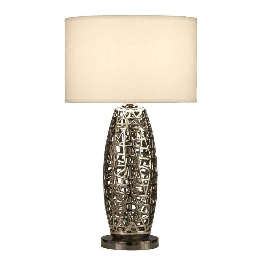 shop nova lighting 30 in 3 way chrome indoor table lamp with fabric. Black Bedroom Furniture Sets. Home Design Ideas