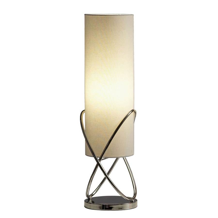 Nova Lighting 26-in Chrome Indoor Table Lamp with Fabric Shade