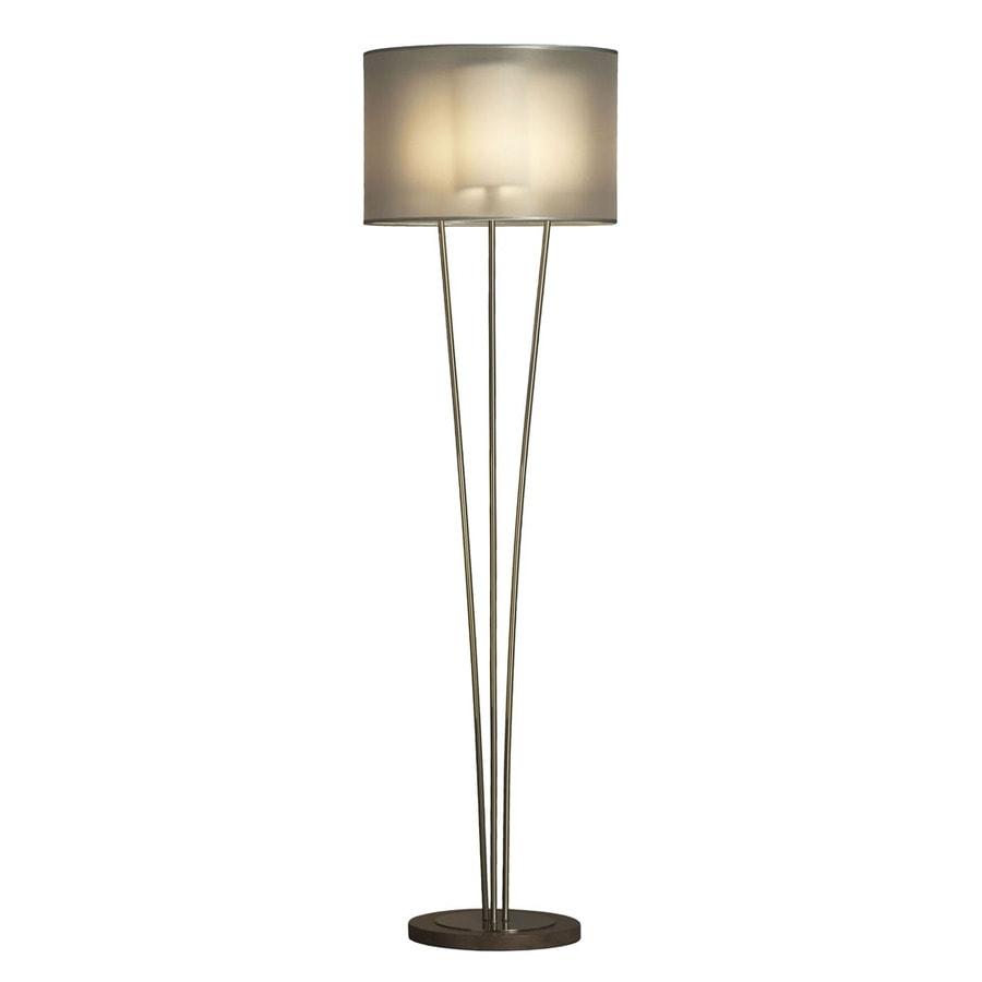NOVA 62-in Walnut Wood and Brushed Nickel Indoor Floor Lamp with Fabric Shade