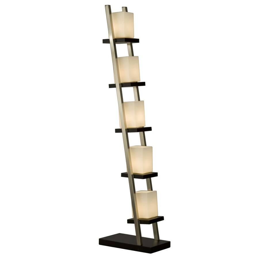 Nova Lighting 61-in Dark Brown Wood, Brushed Nickel and White Glass Indoor Floor Lamp with Glass Shade