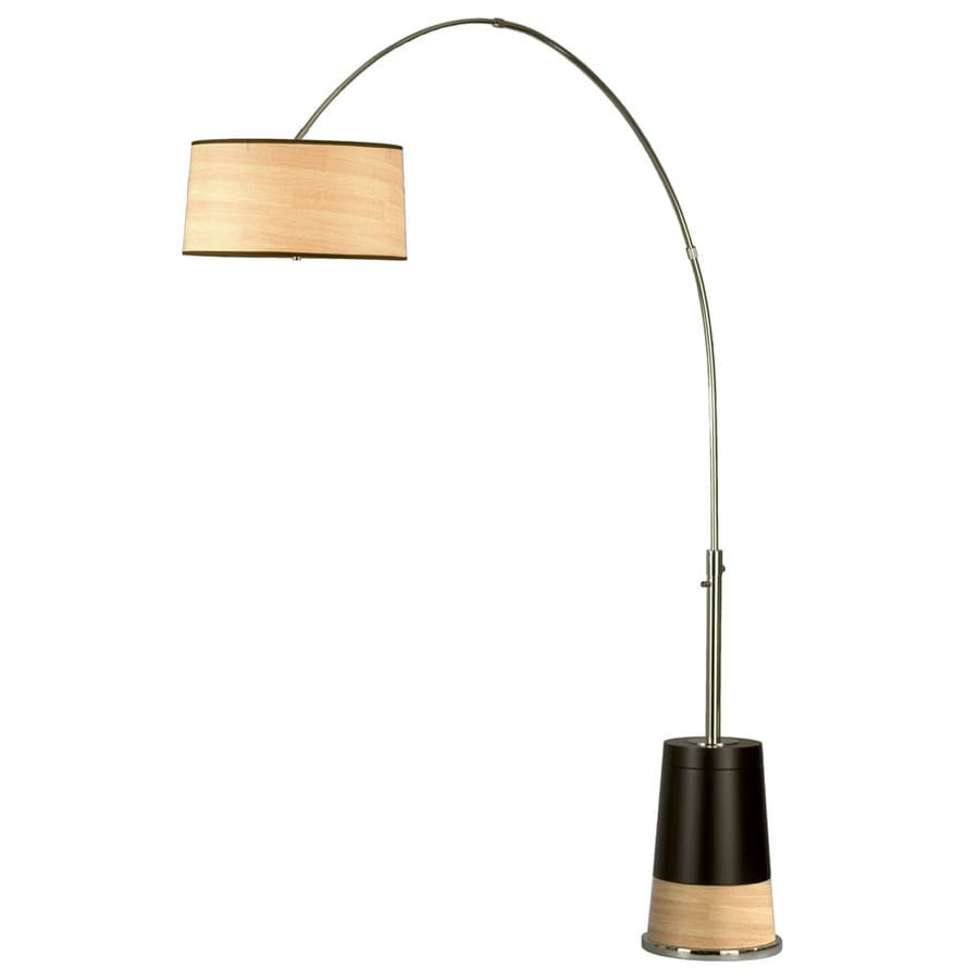 Nova Lighting 88-in Dark Brown Wood and Polished Chrome Indoor Floor Lamp with Paper Shade