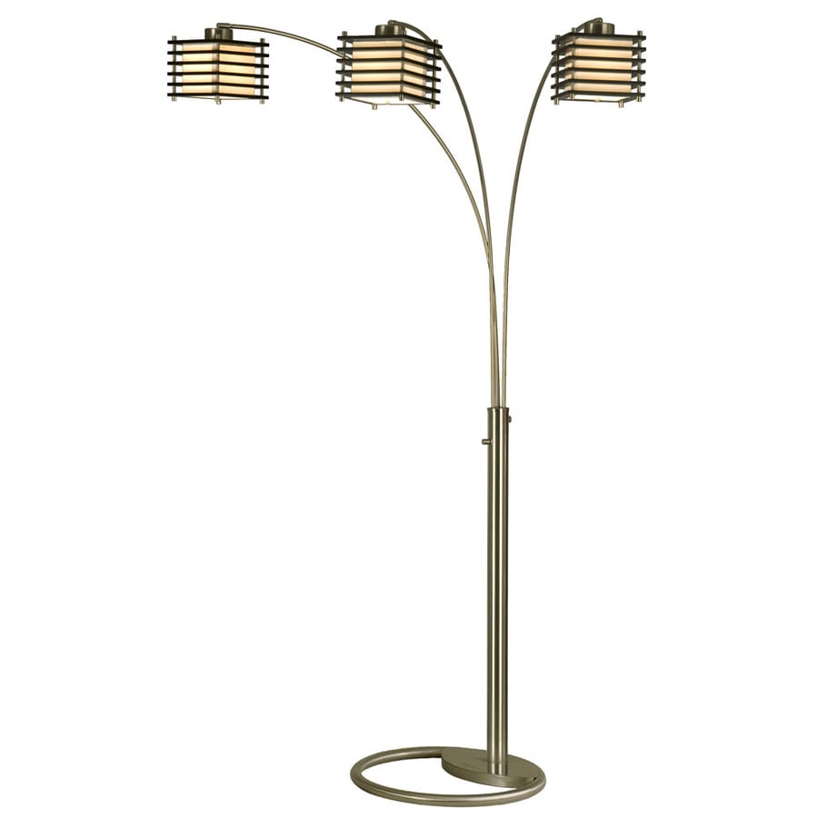 Nova Lighting 80-in Black Wood and Brushed Nickel Indoor Floor Lamp with Fabric Shade