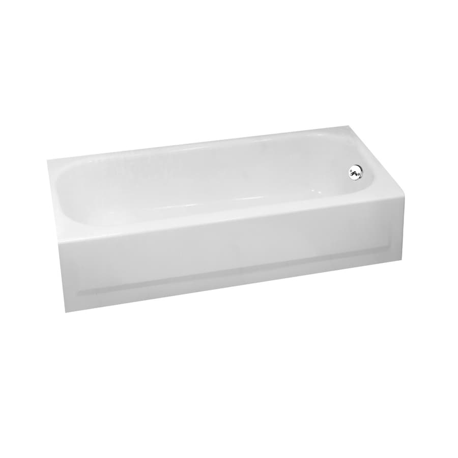 Briggs Pendant White Porcelain Enamel Rectangular Skirted Bathtub with Left-Hand Drain (Common: 30-in x 60-in; Actual: 14.25-in x 30-in x 60-in)