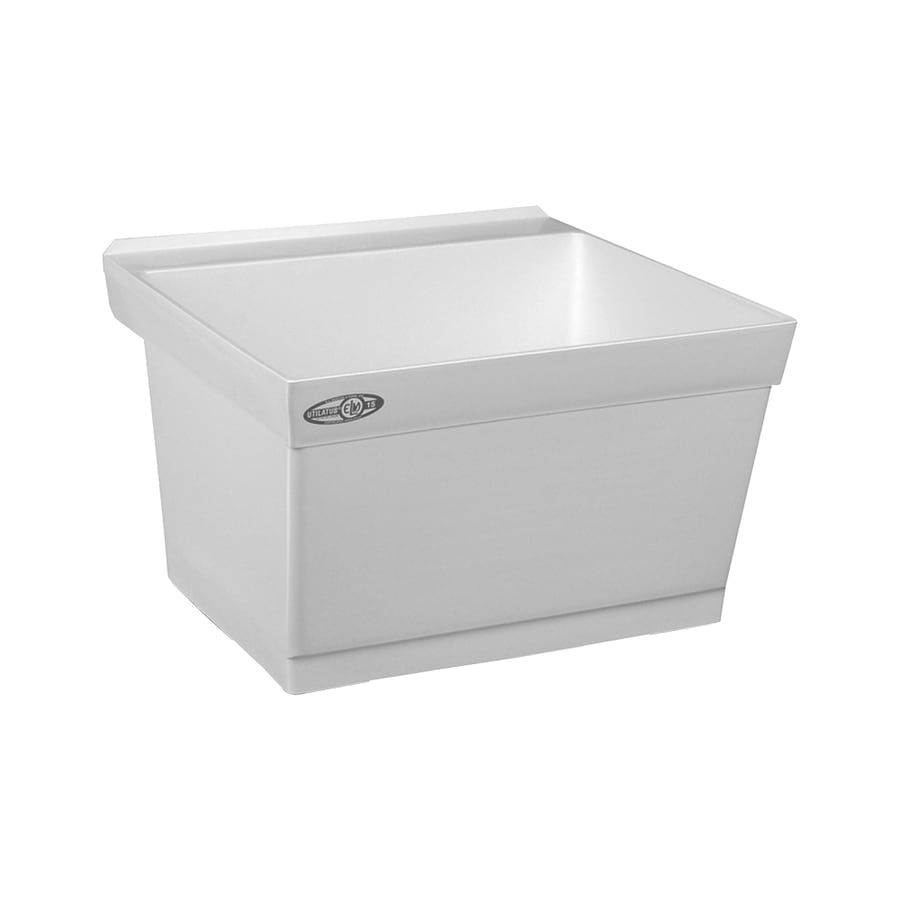 ... 23.5-in 1-Basin White Wall Mount Composite Tub Utility Sink with Drain
